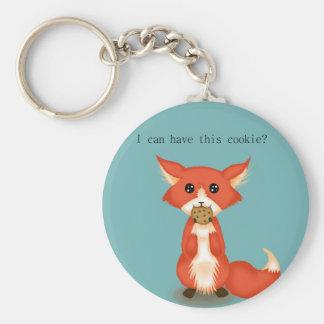 Fox observado grande lindo que come una galleta llavero redondo tipo pin