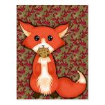 Fox observado grande lindo que come una galleta tarjeta postal