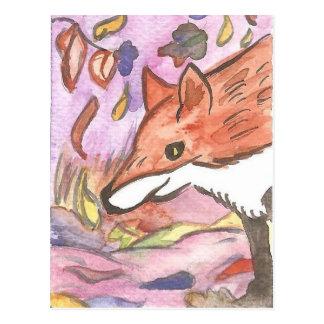 Fox of the purple season postcard