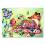 Fox on a Mushroom - Cute Animal Art Photographic Print