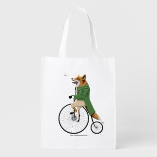 Fox on bike reusable grocery bag