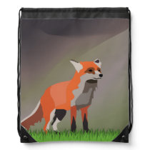 Fox on meadow drawstring backpack