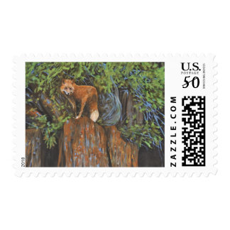 Fox on the Rocks Original Painting Postage