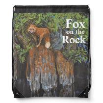 Fox on the Rocks Painting Drawstring Bag