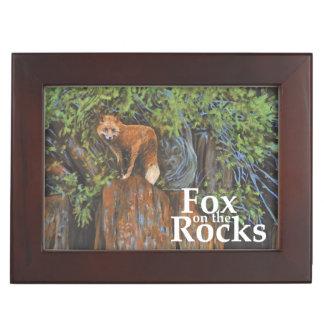 Fox on the Rocks Painting Keepsake Box