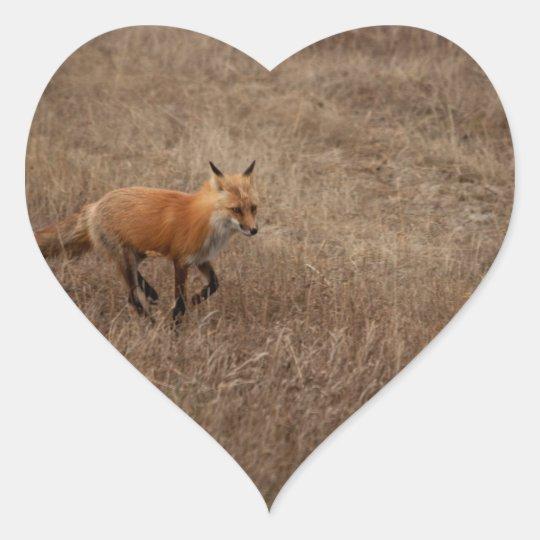 Fox on the Run Heart Sticker