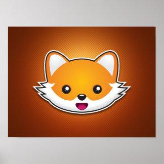 Fox (Orange Background) Poster