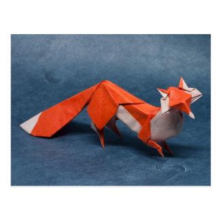 Fox Origami Art Postcard
