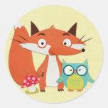Fox Owl and Mushroom on Yellow Stickers
