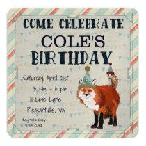 Fox & Owl  Birthday Invitation