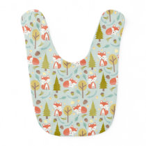 Fox Pattern Baby Girl Bib