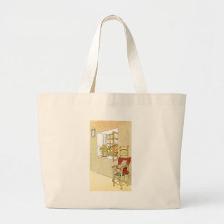 Fox Peers Through Window at Mouse Large Tote Bag
