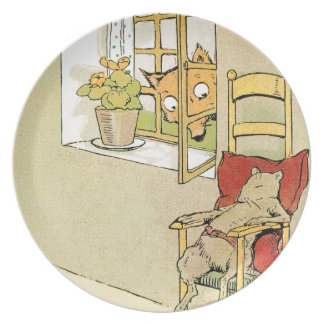 Fox Peers Through Window at Mouse Melamine Plate