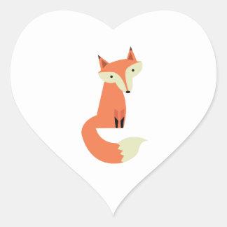 Fox Pegatina En Forma De Corazón