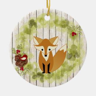 Fox personalizado del arbolado, pájaro y guirnalda adorno navideño redondo de cerámica
