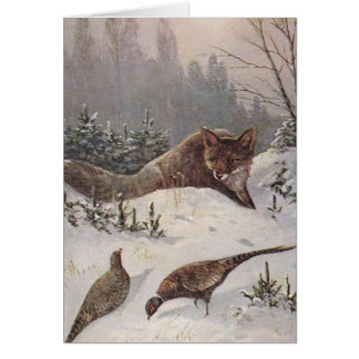 Fox & Pheasants Muted Winter Day Hunt Blank Card