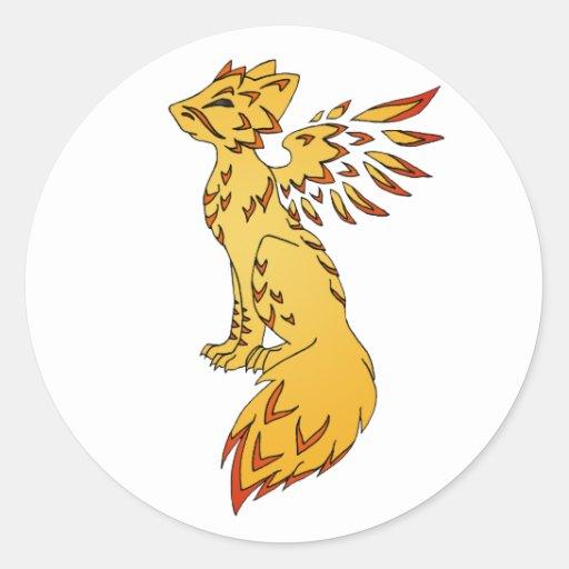 Fox Phoenix Round Stickers
