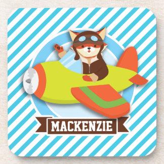 Fox Pilot in Green & Orange Airplane; Blue Stripes Beverage Coaster