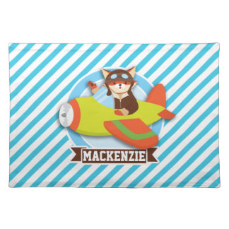 Fox Pilot in Green & Orange Airplane; Blue Stripes Cloth Place Mat