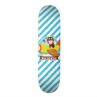 Fox Pilot in Green & Orange Airplane; Blue Stripes Skateboard