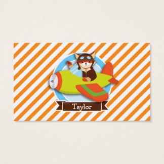 Fox Pilot in Green & Orange Airplane Business Card