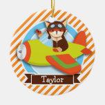 Fox Pilot in Green & Orange Airplane Ceramic Ornament