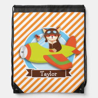 Fox Pilot in Green & Orange Airplane Drawstring Bag