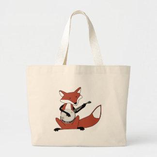 Fox Playing the Banjo Large Tote Bag