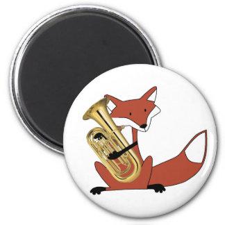 Fox Playing the Euphonium 2 Inch Round Magnet