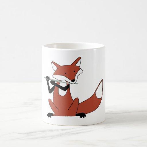 Fox Playing the Flute Classic White Coffee Mug