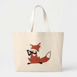 Fox Playing the Flute Large Tote Bag