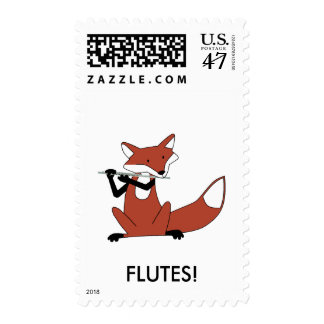 Fox Playing the Flute Postage