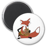 Fox Playing the French Horn 2 Inch Round Magnet