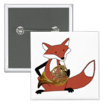 Fox Playing the French Horn 2 Inch Square Button
