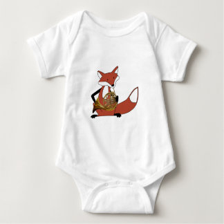 Fox Playing the French Horn Baby Bodysuit