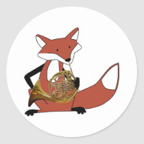 Fox Playing the French Horn Classic Round Sticker