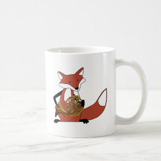 Fox Playing the French Horn Classic White Coffee Mug