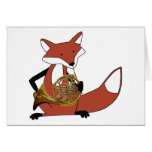 Fox Playing the French Horn Greeting Card