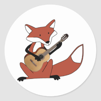 Fox Playing the Guitar Classic Round Sticker