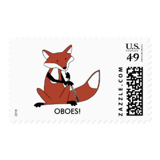 Fox Playing the Oboe Stamps