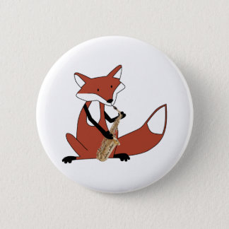 Fox Playing the Saxophone Button