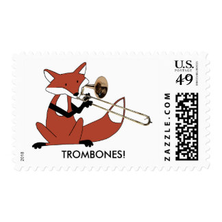 Fox Playing the Trombone Stamp