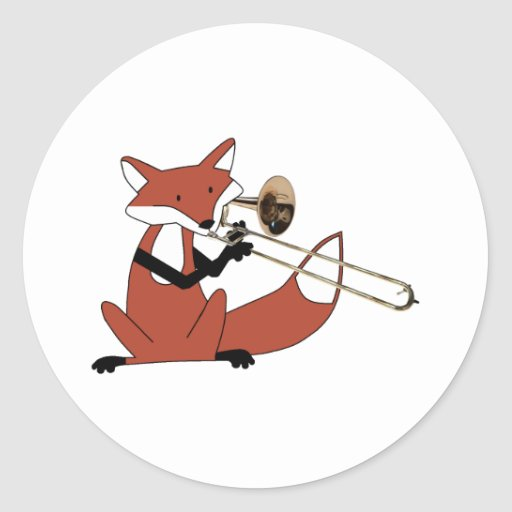 Fox Playing the Trombone Sticker