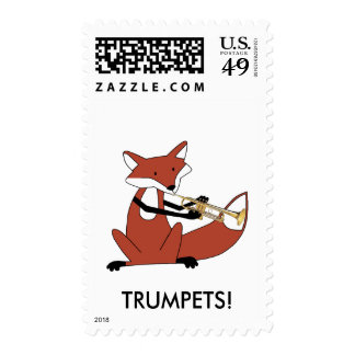Fox Playing the Trumpet Postage Stamps