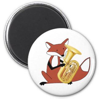 Fox Playing the Tuba Fridge Magnets