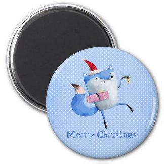 Fox polar del navidad imán redondo 5 cm