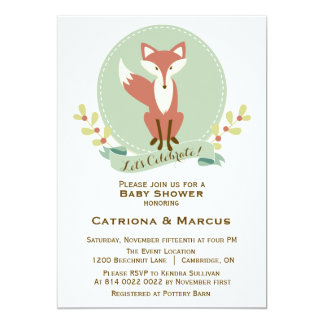 Fox Portrait Floral Baby Shower Invitation
