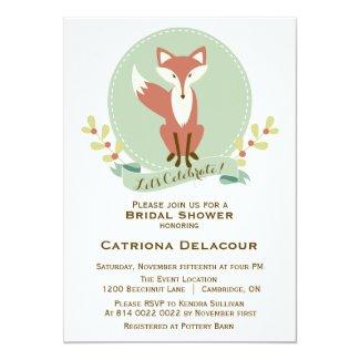 "Fox Portrait Floral Bridal Shower Invitation 5"" X 7"" Invitation Card"