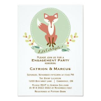 Fox Portrait Floral Engagement Party Invitation