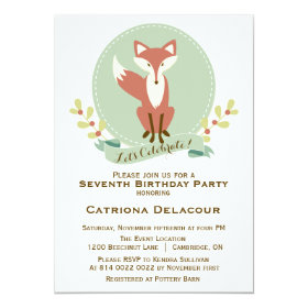 Fox Portrait Floral Kids Birthday Party Invitation 5